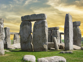 Details of Stonehenge with beautiful sky