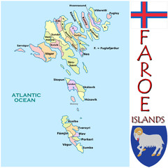 Faroe Islands Europe national emblem map symbol motto