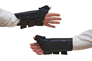 Wrist and Thumb Brace / Splint (front + back views)