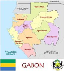 Gabon Africa emblem map symbol administrative divisions