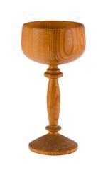 retro wooden wineglass tumbler isolated on white