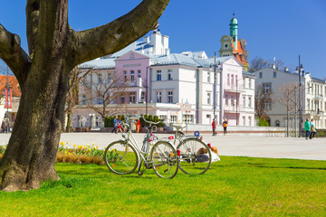 Idyllic spring scenery on the square in Sopot, Poland