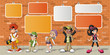 hipster cartoon young people in front of orange brick wall