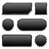 Black buttons with metallic frames