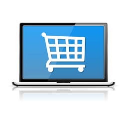 E-Commerce, Laptop with Icon of a Shopping Cart