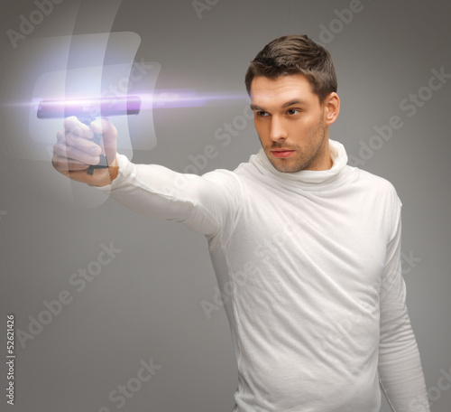 futuristic man with gadget