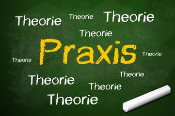 Kreidetafel mit Praxis und Theorie
