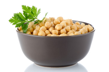 Closeup of a bowl with boiled chickpeas