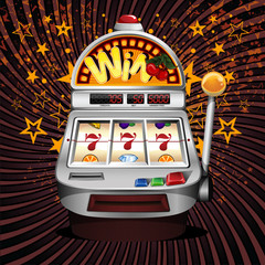 A vector slot fruit machine  winning on sevens.