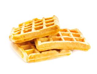 Three waffles isolated