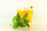 stevia and juice in whitebackground