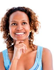 Thoughtful black woman