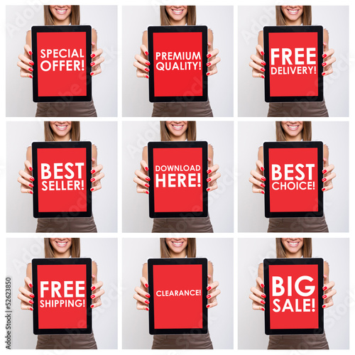 Collage of shopping related texts on red tablet screen