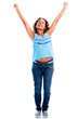 Excited woman with arms up
