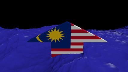 Malaysia flag arrow in abstract ocean animation