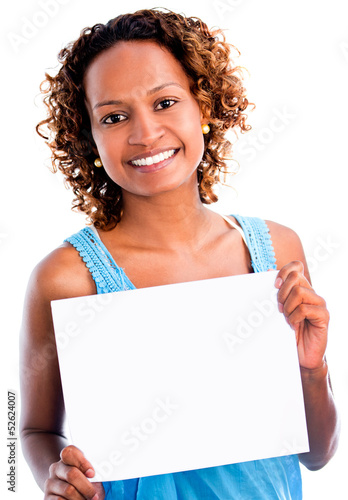 Black woman holding a banner