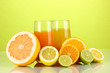 Lots ripe citrus with juices on green background