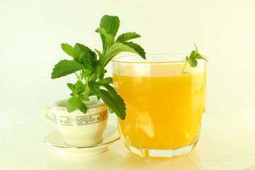 stevia with tea cup and juice