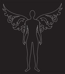 sagoma di angelo stilizzata su sfondo nero