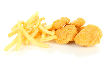 Fried chicken nuggets with french fries isolated on white