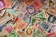 Leinwanddruck Bild - Colorful Vintage Used Postage Stamps