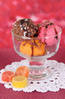 Delicious ice cream on table on bright background