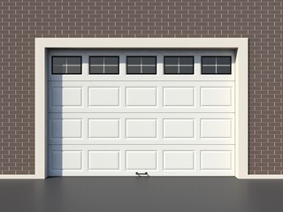 White modern garage door with windows
