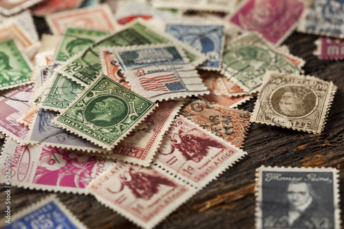 Colorful Vintage Used Postage Stamps