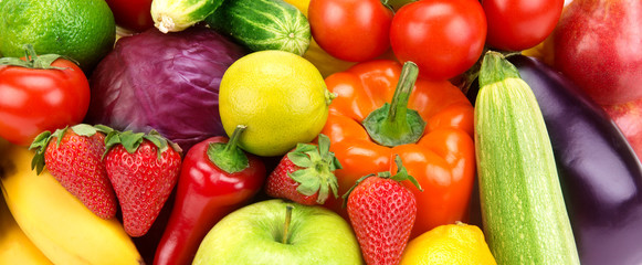 bright background of different fruits and vegetables