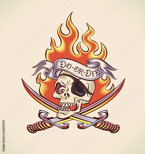 Skull of Pirate - tattoo design