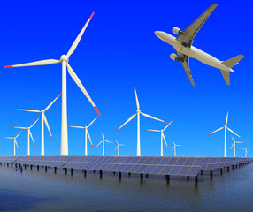 Aircraft is flying in eco power of wind turbines and solar panel