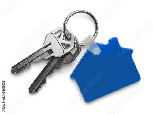 Leinwanddruck Bild Blue House and Keys