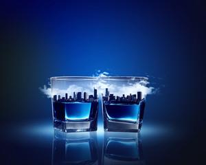 Two glasses of blue liquid