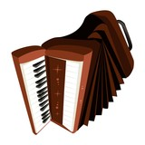 A Retro Accordion Isolated on White Background