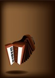 A Retro Accordion on Dark Brown Background