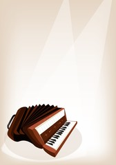 A Retro Accordion on Brown Stage Background