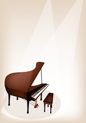 A Retro Grand Piano on Brown Stage Background