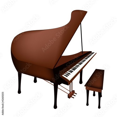 A Retro Grand Piano Isolated on White Background