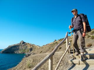 Male hiker trekking