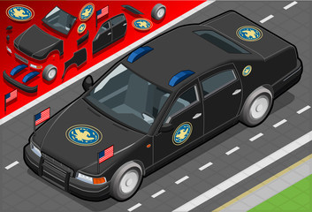 Isometric Presidential Limousine in Front View