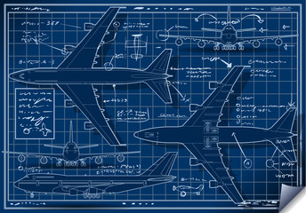 Blue project of a plane in five views