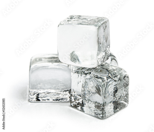 four pieces of ice cubes on white with clipping path