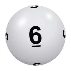 Loto, boule blanche numéro 6