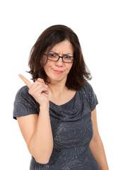 nice woman with eyeglasses, portrait in studio
