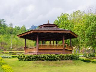 thai gazebo in garden. Vajiralongkorn Dam