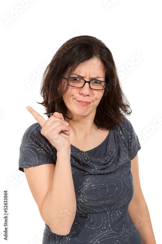nice woman with eyeglasses, portrait in studio