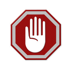 Hand left Stop Sign, mesh isolate on white background