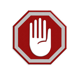 Hand right Stop Sign, mesh isolate on white background