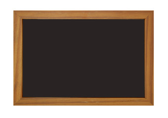 Blank blackboard with brown wooden edge