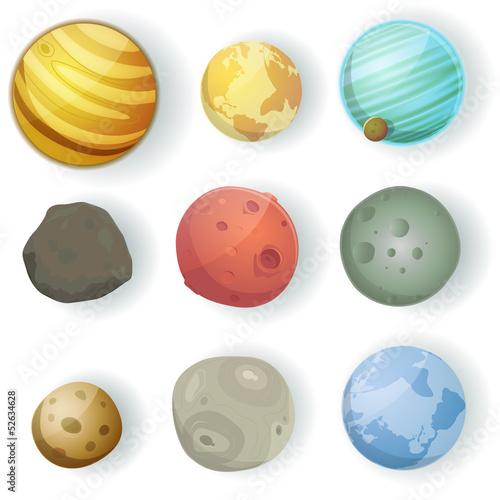 Tapeta Cartoon Planets Set